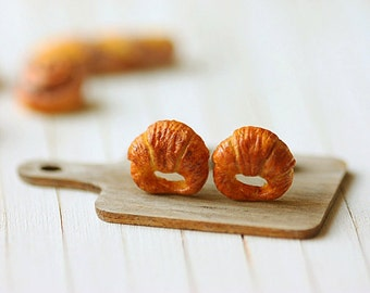 Food Earrings - Croissant Earrings - Gifts Under 25