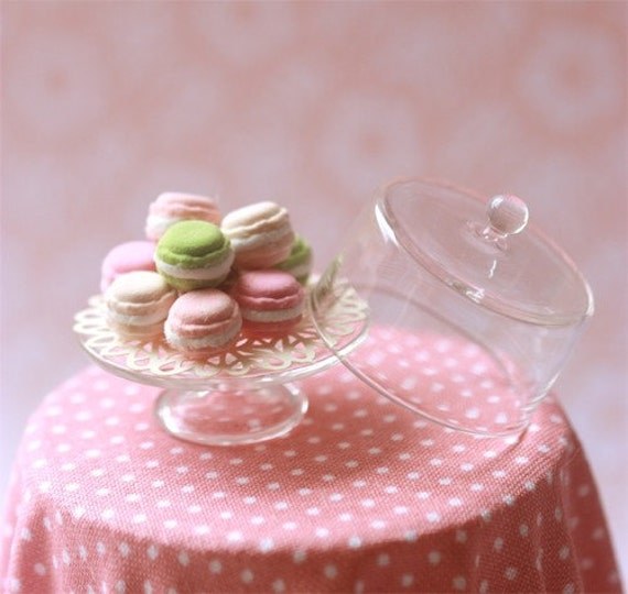 Dollhouse Miniature 1/12 Sweet Macarons in Glass Display Stand