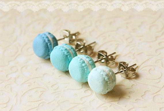 Food Earrings - Macaron Earrings in Lagoon Blue Series - Gifts Under 25
