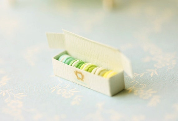 Miniature Food - Dollhouse Assorted Blue and Green Macarons in Elegant Box - For Lati Yellow or Pukifee