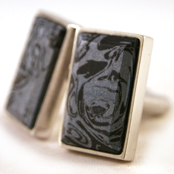 Cufflinks: M3 Coboltium and Carbonite Mokume in Sterling Silver Bezel (CL-404)
