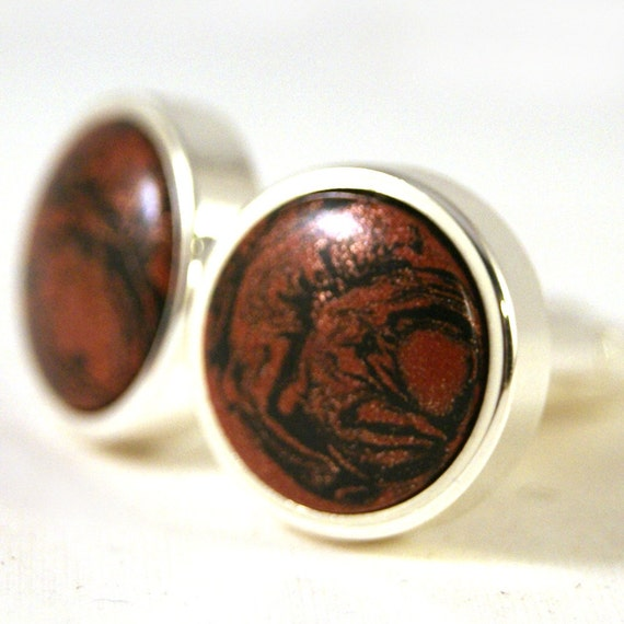 Cufflinks: M3 Copper and Carbonite Mokume in Sterling Silver Bezel (CL-415)