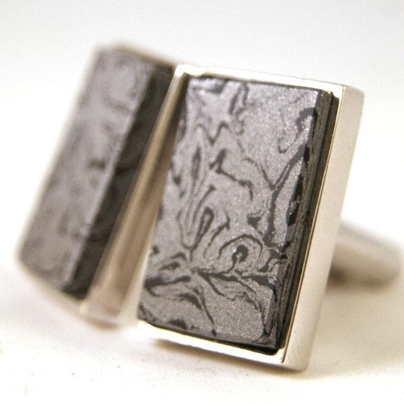 Mens Cufflinks - Damascus Steel in Sterling Silver Bezel (CL-429)