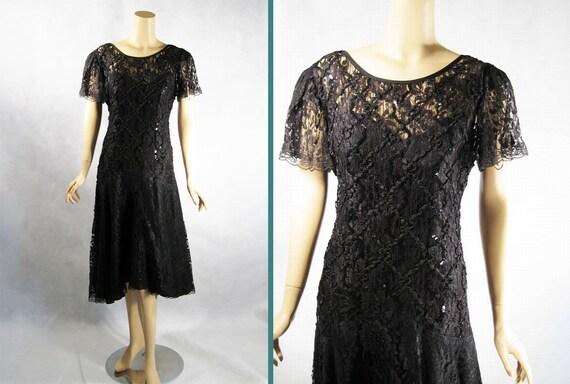 Vintage 1980s 80s Black Beaded Drop Waist Party Dress by AfterDark Sz 12