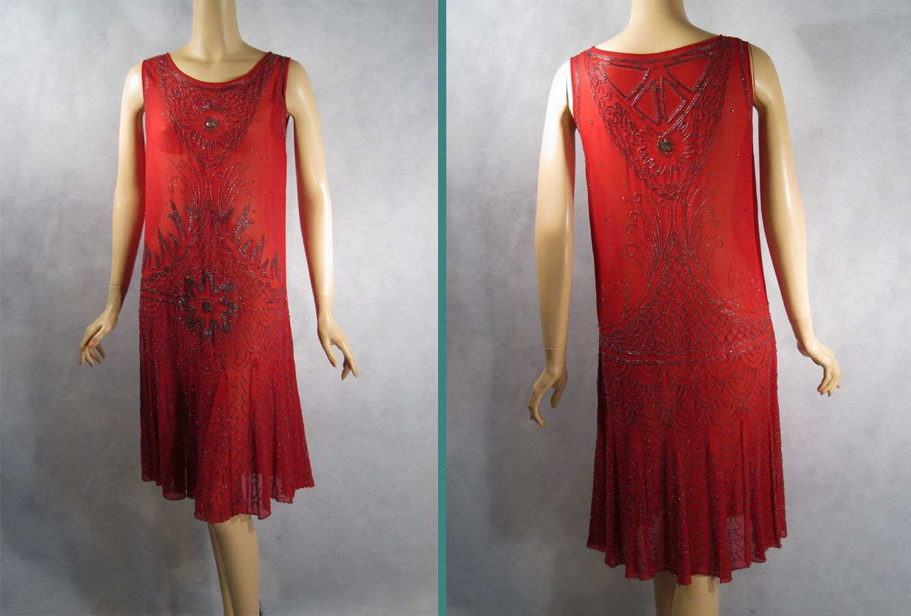 Vintage 1920s red lace flapper dress