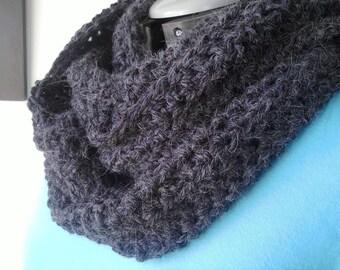 Charcoal Alpaca Blend Crochet Knit Circle Scarf