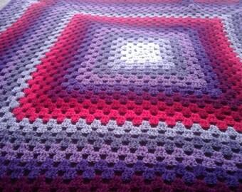 Grape Berry Orchid Purple Large Crochet Knit Granny Square Blanket