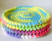 Handmade Set of Four Big Crochet Coasters Summer Colors