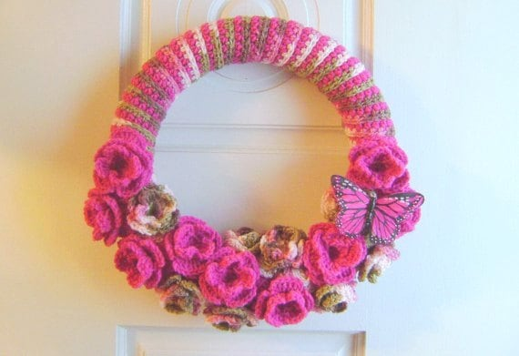 Handmade Crochet 14 Inch Rose Wreath with Butterfly