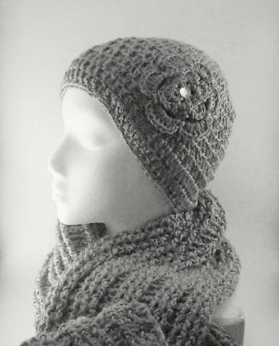 Handmade Crochet Grey Hat and Scarf