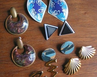 Vintage Collection of 1980's Enamel Costume Jewelry