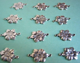 Silver Plated die cut Flower Bead Charms (12)
