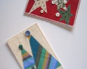 Inventory Reduction Sale Christmas QUILTED POSTCARDS Stars and Trees Set of 2 Postcards