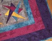 Batik RIBBON STARS QUILT from Quilts by Elena Rich Colors Intricate Quilting Foundation-Piecing