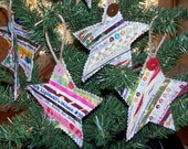 Set of 3 Quilted Selvage STAR Ornaments Made to order with Recycled Cotton Fabric Selvages Embellished with Antique Buttons