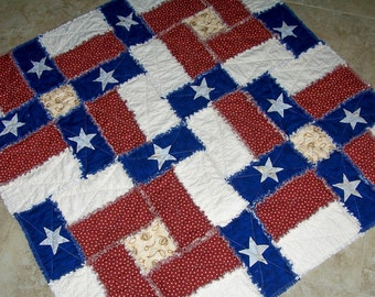 TEXAS FLAG RAG Quilt Pattern  Can be made with regular cottons or flannels Original pattern