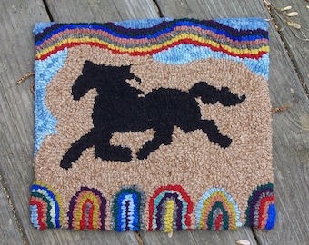 Primitive Hooked Rug WEATHERVANE Horse Penny Rug Recycled Wool Ready to Ship