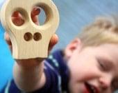 wood teether baby toy teething toy baby wooden skull block