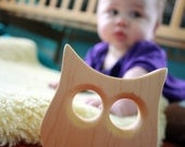 Wood Teether owl wooden toy natural baby toy photo prop