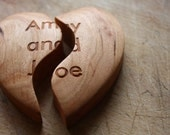 valentines day Wooden Share Heart Token of Love  wedding gift favor love