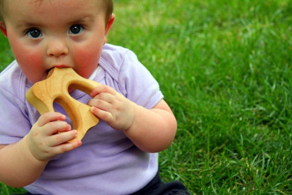 organic TEETHING BUTTERFLY The CALLA B butterfly maple wood baby teething teether toy