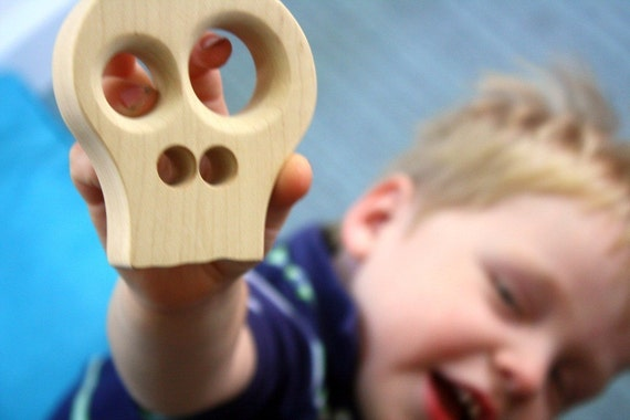 wood teether baby toy teething toy baby wooden skull block