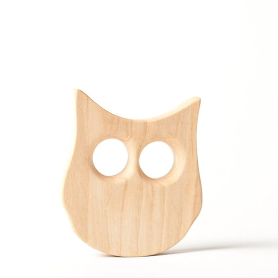 Baby Toy Teething wood toy teether wooden toy owl play infant free play