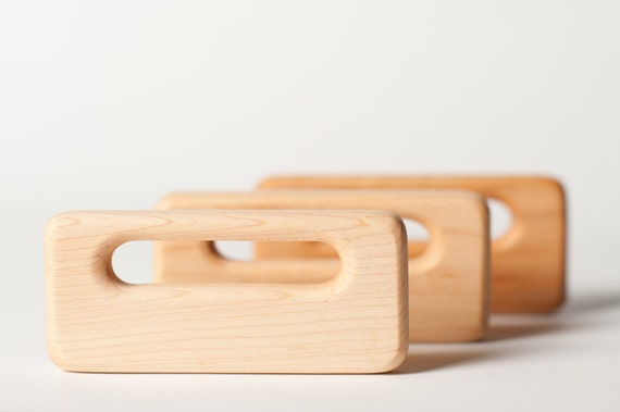 NATURAL ORGANIC RATTLE The Handle Wooden Maple Waldorf Style Wood Rattle Teether infant baby toddler
