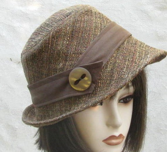 wool tweed womens fedora hat for autumn and winter