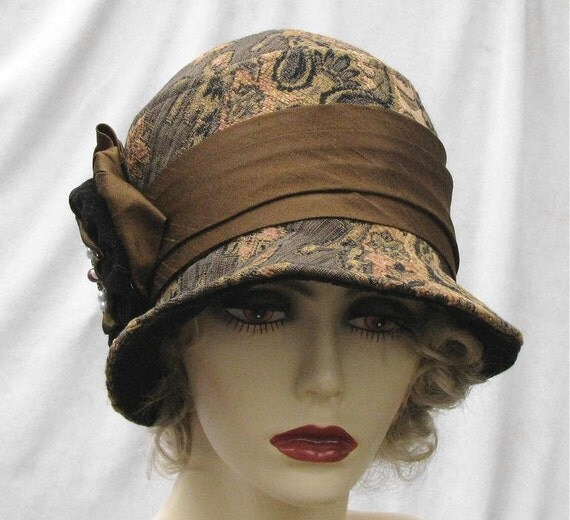 Womens 1920's Couture Millinery Hat Cloche Tapestry Fabric