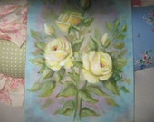 Yellow Shabby Chic Roses Oil Painting by Carole DeWald blue
