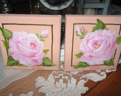 2 small original oil paintings pink roses by Carole DeWald