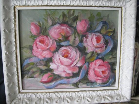 Pink Shabby chic Roses Oil painting Original by Carole DeWald Vintage frame blue