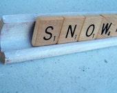 Snowman Altered Art Scrabble Sign White