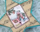 Ornament Christmas Star Aqua Nest Shabby Chic by gethappy on etsy