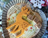 Christmas Ornament Deer Rustic Tin Heart by gethappy on etsy