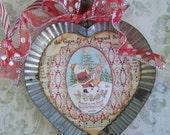 Handmade Christmas Heart Ornament Santa