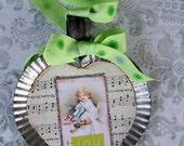 Christmas Joy Heart Ornament Lime Green
