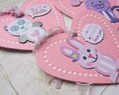 Valentine Pink Heart Tags Rabbit Cat Panda