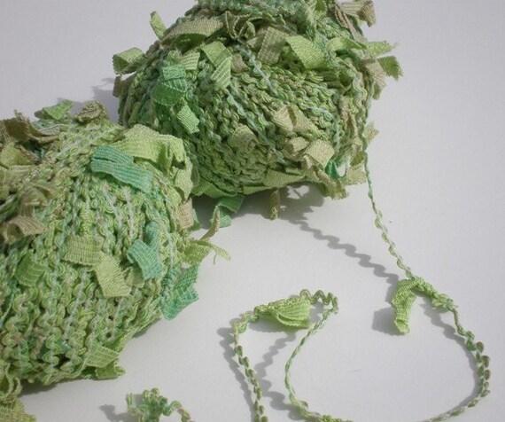 Novelty Yarn in Lime Wasabi Green Plymouth Yarn Fashion Flamenco Cotton Blend Vegan Friendly