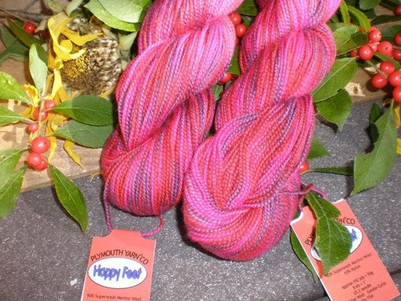 Plymouth Knitting Yarn Happy Feet Sock Yarn in Purple Red Pink Self striping Color 19 Merino Wool Blend