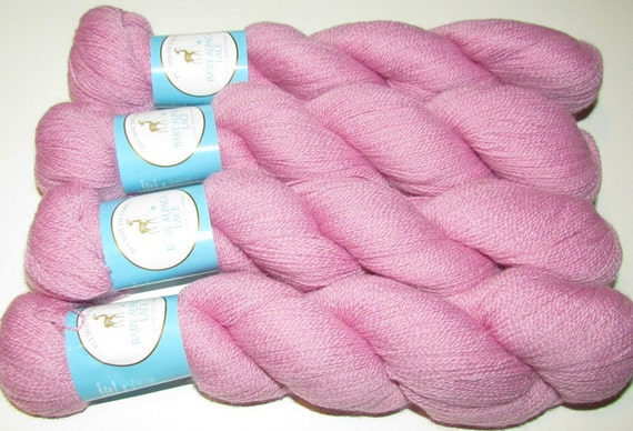 4 Skeins Pink Yarn Knitting Yarn Baby Alpaca Lace Weight Yarn Soft Field Rose Pink Plymouth Yarns