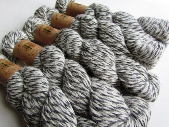 5 Skeins Grey and Cream Yarn Twisted Rag Plymouth Ranch Yarn Alpaca Yarns From Nature Color Number 10