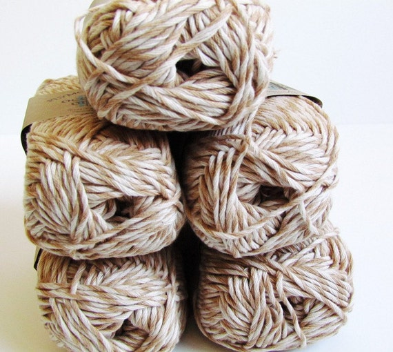 Brown White Yarn 5 Balls Organic Cotton Oceanside Yarn Twisted Tan Off white Color 5 Nut Marl Twist with Offwhite Tan Camel Light Brown