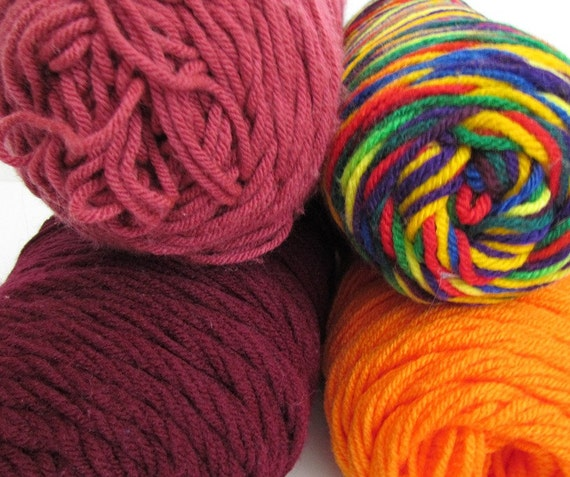 Destash Yarn Worsted Weight Rainbow Colors Red Blue Yellow