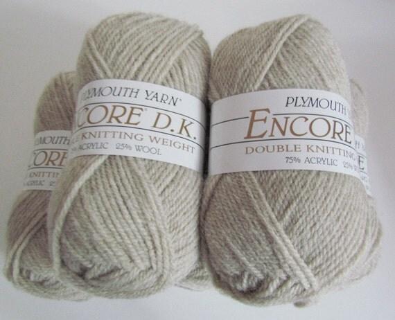 Oatmeal Wheat Yarn 5 Balls Plymouth Encore DK Yarn Beige Taupe Tan Color 240 double knitting wool blend sport weight