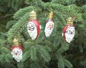 Santa Light Bulb Ornaments - Vintage Christmas Tree Light Bulb Ornaments - Set of 4 - Santa Christmas Ornaments - Santa Claus - No.1
