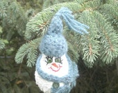 Snowman Light Bulb Ornament with Teal Hat and Scarf
