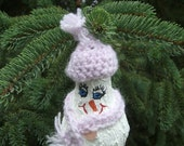Light Bulb Ornament - Christmas Ornament - Snowman Light Bulb Ornament - Purple Hat and Scarf - Crocheted Hat, Scarf - Glass Tree Ornament