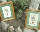 Cross Stitch Pictures - Trees - Matted and Framed - Set of 2 Pictures - Hand Stitched - Fruit Tree - Leafy Tree - Green Matting - Birds